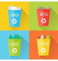 Color Recycle Garbage Bins with Glass vector