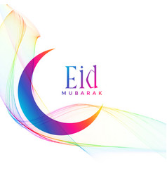 Colorful eid mubarak crescent moon greeting vector