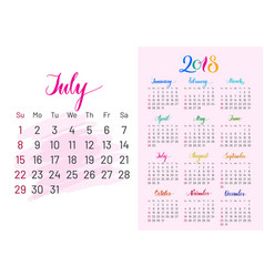 Colorful planner 2018 july separately vector