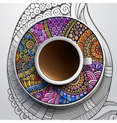 cup coffee and hand drawn floral ornament vector image