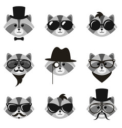 cute cartoon hipster raccoons with mustaches and vector image