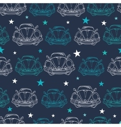 Dark Blue Vintage Cars Stars Drawing vector