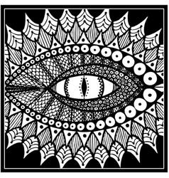 dragon or snake eye black and white vector image