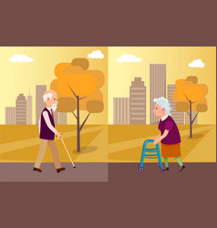 elderly man with walking stick and senior woman vector image