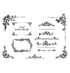 elements set roses vector image