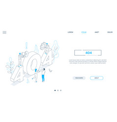 error 404 page - line design style isometric web vector image