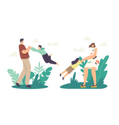 Family outdoor fun parenthood and childhood vector