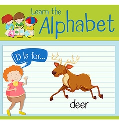Flashcard letter D is for deer vector image