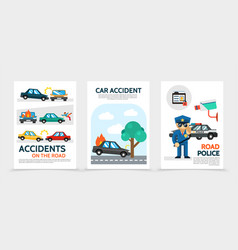 flat auto accident vertical banners vector image