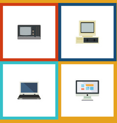 Flat icon laptop set of notebook computer vector