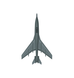 flat icon of fast military aircraft gray vector image