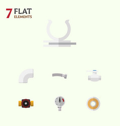 Flat icon plumbing set of pressure tap roll and vector