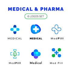 Flat line medicine icons blue and green emblem vector