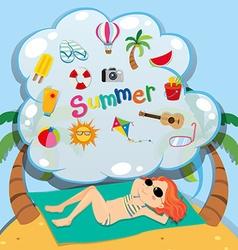 Girl in bikini sunbathing on the beach vector