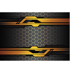 gold black line futuristic polygon hexagon mesh vector image