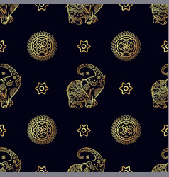 Gold elephant seamless pattern vector