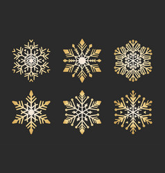 golden snowflakes set christmas flat snow crystal vector image