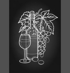 graphic glass of wine bottle and bunch of grapes vector image