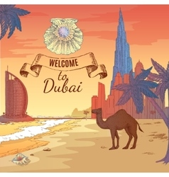 Hand Drawn Dubai Background vector