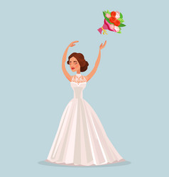 Happy woman bride character throwing bouquet vector