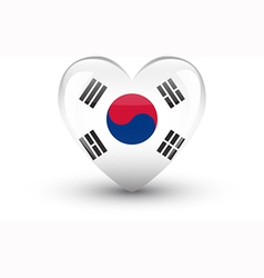 heart-shaped icon with flag south korea vector image