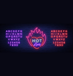 hot love symbol for valentine s day neon sign vector image