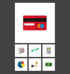 icon flat finance set of arrow credit card vector image