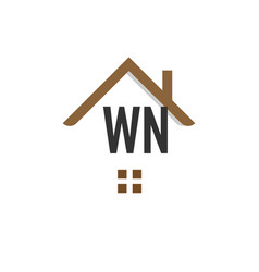 Initial letter wn building logo design template vector