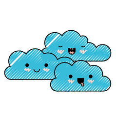 kawaii cumulus clouds icon flat in colored crayon vector image vector image