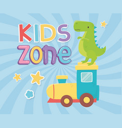 kids zone green dinosaur and plastic train toys vector image