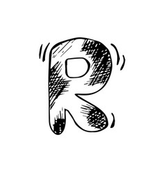 Letter r trendy alphabet in graphic style hand vector
