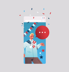 Man celebrating 4th july american independence vector