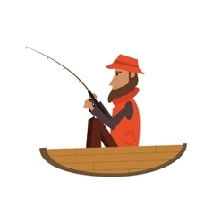 man fishing on boat icon vector image