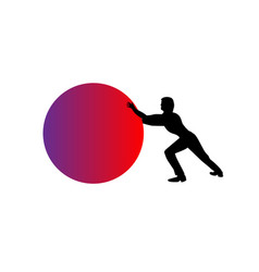 man pushing a red sphere ball or orb - isolated vector image