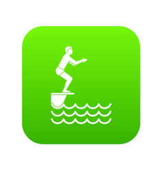 man standing on springboard icon digital green vector image