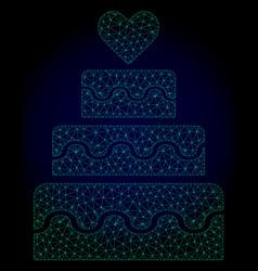 marriage cake polygonal frame mesh vector image