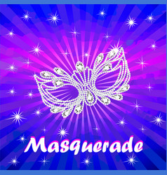 masquerade poster with carnival mask with vector image