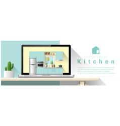 Modern kitchen interior design background vector
