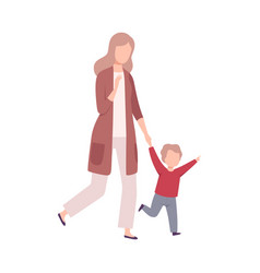 Mother and her little son walking holding hands vector