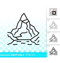 mountain simple high mount black line icon vector image
