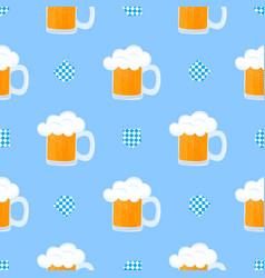 Mug beer with foam and decorative flag vector