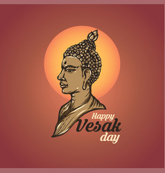 Of happy vesak day or buddha purnima background vector