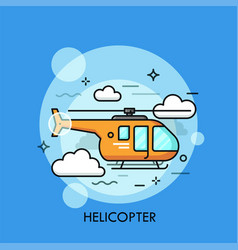 Orange helicopter flying through clouds vector