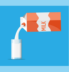 paper packet with milk and glass isolated vector image