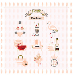 Pink fashion trends summer and beach fun icons vector