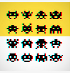pixel little retro monsters with screen distortion vector image