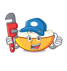 Plumber cottage cheese mascot cartoon vector
