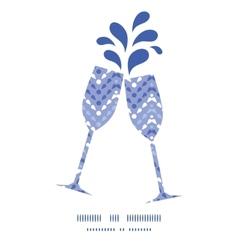 Purple drops chevron toasting wine glasses vector