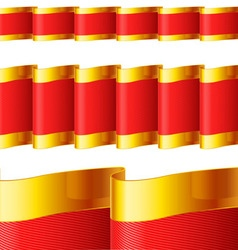 Red ribbons with gold edging vector