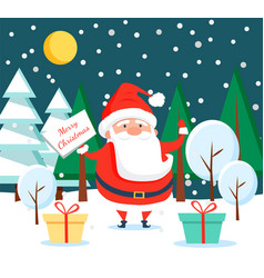 Santa claus standing in winter forest at night vector